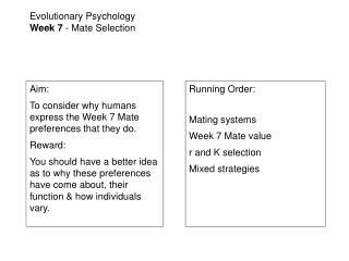 Evolutionary Psychology Week 7 - Mate Selection