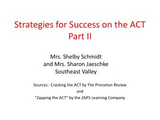Strategies for Success on the ACT Part II