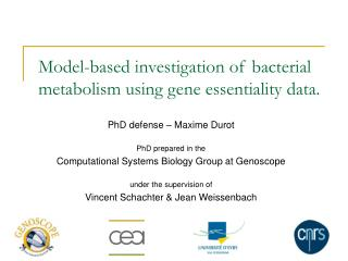 Model-based investigation of bacterial metabolism using gene essentiality data.