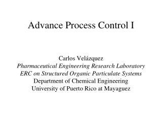 Process Control and Optimization