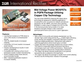 Mid-Voltage Power MOSFETs in PQFN Package Utilizing Copper Clip Technology