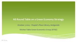 NS Round Table on a Green Economy Strategy
