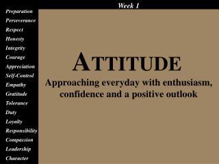 Attitude Preparation Perseverance Respect Honesty Integrity Courage Appreciation Self-Control Empathy Gratitude Toleranc