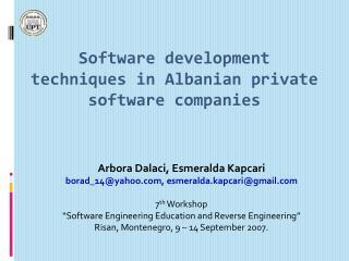 Software development techniques in Albanian private software companies