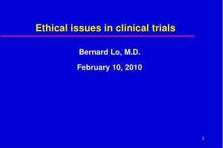Ethical issues in clinical trials