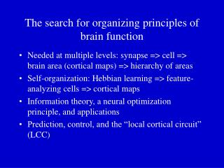 The search for organizing principles of brain function