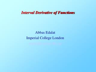 Interval Derivative of Functions