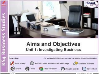 Aims and Objectives Unit 1: Investigating Business
