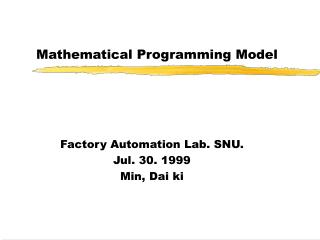 Mathematical Programming Model