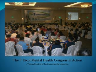 The 1 st  Bicol Mental Health Congress in Action …The realization of Partners months endeavor..