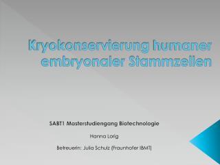 Kryokonservierung  humaner embryonaler Stammzellen