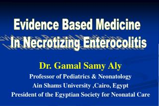 Dr. Gamal Samy Aly Professor of Pediatrics & Neonatology Ain Shams University ,Cairo, Egypt President of the Egyptia