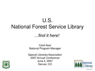 U.S. National Forest Service Library