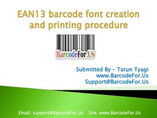 EAN13 text font creation and printing procedure