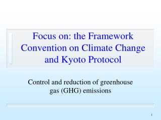 Focus on: the Framework Convention on Climate Change and Kyoto Protocol