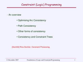 Constraint (Logic) Programming