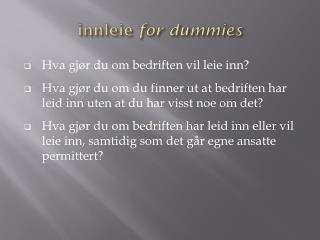 innleie  for  dummies