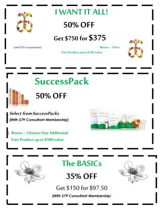 The BASICs 35% OFF  Get $150 for $97.50  (With $79 Consultant Membership )