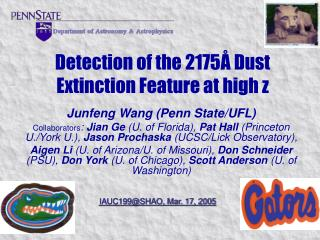 Detection of the 2175 Å Dust Extinction Feature at high z