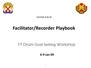 Final Draft :  22 Dec  08 Facilitator/Recorder Playbook