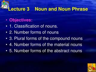 Lecture 3    Noun and Noun Phrase