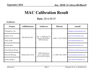 MAC Calibration Result