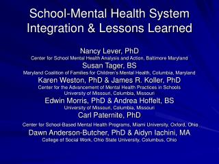 School-Mental Health System Integration & Lessons Learned