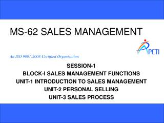 MS-62 SALES MANAGEMENT