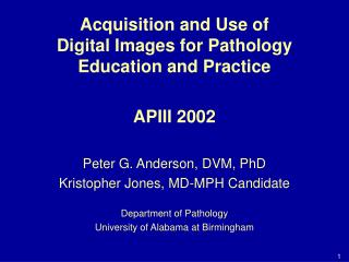 Acquisition and Use of Digital Images for Pathology Education and Practice APIII 2002 Peter G. Anderson, DVM, PhD Kristo