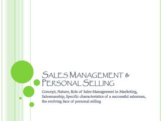 Sales Management & Personal Selling