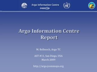Argo  Information Centre Report
