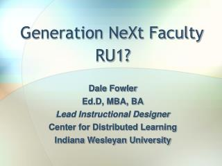 Generation NeXt Faculty