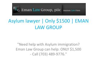 Asylum lawyer | Only $1500 | EMAN LAW GROUP