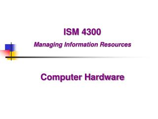 ISM 4300  Managing Information Resources