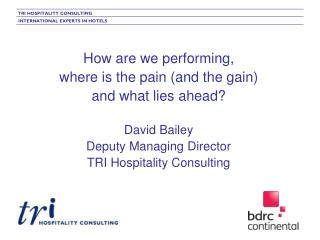 How are we performing,  where is the pain (and the gain)  and what lies ahead?  David Bailey