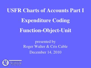 USFR Charts of Accounts Part I Expenditure Coding Function-Object-Unit