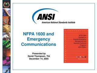 NFPA 1600 and  Emergency Communications
