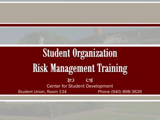 Student  Organization  Risk  Management  Training