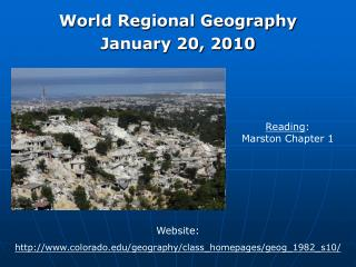 World Regional Geography January 20, 2010