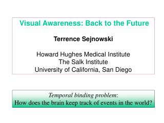 Visual Awareness: Back to the Future Terrence Sejnowski Howard Hughes Medical Institute
