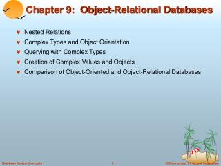 Chapter 9:  Object-Relational Databases