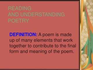 READING AND UNDERSTANDING POETRY