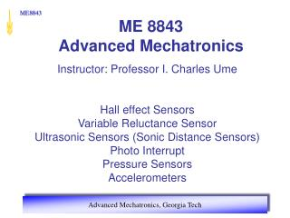ME 8843 Advanced Mechatronics
