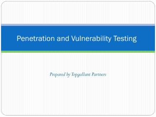 Penetration and Vulnerability Testing
