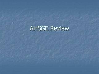 AHSGE Review