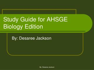 Study Guide for AHSGE  Biology Edition