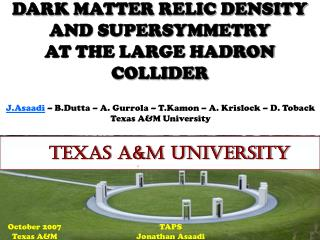 DARK MATTER RELIC DENSITY AND SUPERSYMMETRY  AT THE LARGE HADRON COLLIDER
