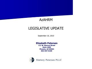 AzAHRM LEGISLATIVE UPDATE September 10, 2010