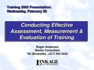 Training 2003 Presentation:  Wednesday, February 26