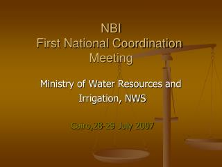 NBI First National Coordination  Meeting